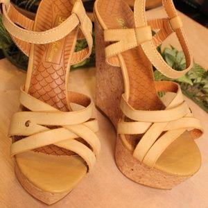 New De Blossom Collection Cream High Wedge Heels